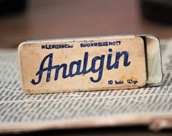 Pill Tin - Pill Box - Analgin Tin Box - Vintage Tin Box Made in Bulgaria - Advertising Tin - Collectible Small Tin - Empty Tin