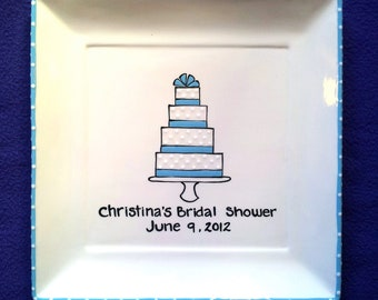 GUEST BOOK ALTERNATIVE  Wedding Signature Plate Shower Guest Book - Ribbon Cake