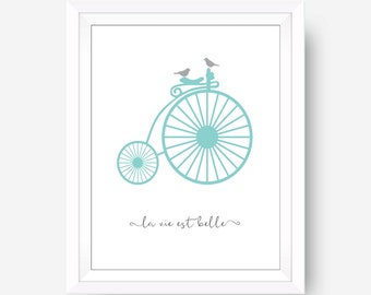 Life is Beautiful Quote French Wall Decor Paris Wall Decor Bicylcle Wall Art Travel Wall Art Office Wall Art French Wall Art