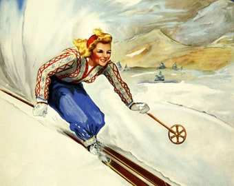 Ski Canada  Blond Lady Skiing  Mont Tremblant Quebec Winter Sport Vintage Poster Repro FREE SHIPPING in USA
