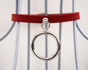 Red leather collar with o-ring + Pvc, vinyl + Black, white _ choker, buckle collar, goth, alternative