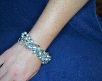 Silver Glass Pearl Cluster Bracelet