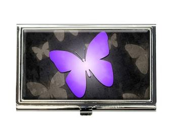 Purple Butterfly Butterflies Business Credit Card Holder Case