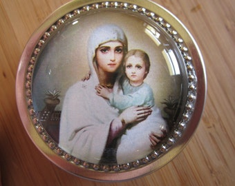 Item#59 ~Icon Mary and Jesus rosary tin rosary case first communion gift for boy or girl baptism favor catholic jewelry sorrowful mother