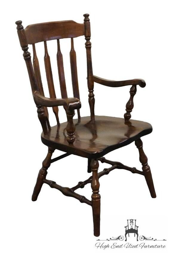 - ETHAN ALLEN Antiqued Pine Old Tavern High Back Catkin Arm