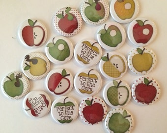 """Apple theme set of 20 buttons.  1"""" or 1.25"""" choose from pins, flat, hollow or magnets"""