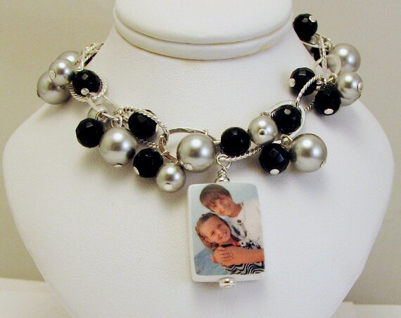 Photo Charm Bracelet with Black Onyx and Pearls - Small - P3B6a