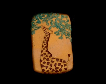 Giraffe Jewelry: Giraffe in the Tall Trees Pin. Original Bas-Relief Sculpture in Polymer Clay. Gold, Green and Brown 3565