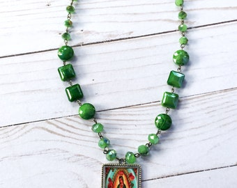 Guadalupe Green Glass Bead Necklace