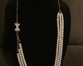 Multi-Strand Asymmetrical Pink and Cream Pearl 30 inch Necklace with Rhinestone embelishments