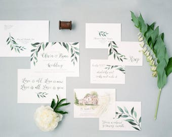 Simple and Elegant Greenery Garland Quote Wedding Invitations & Stationery - SAMPLE - Watercolour Vine Art and Design by Alicia's Infinity