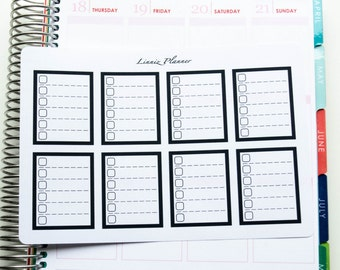 Black Checkboxes (matte planner stickers, fits perfect in Erin Condren Life Planner Vertical)