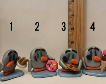 Statue= Penguins with food -Polymer Clay-