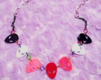 Colorful ALIEN INVASION Alien Connector Necklace with Multi Color Chain and Acrylic -- Long Necklace