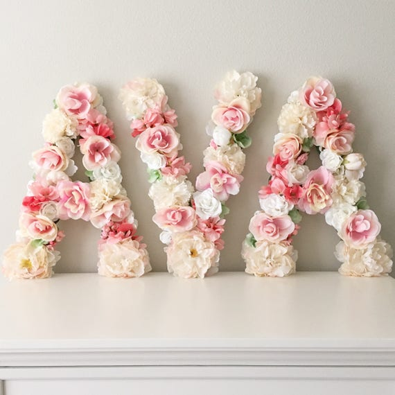 Custom letter flower letter floral letter baby shower like this item negle Images