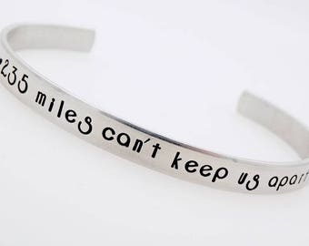 Custom , Long distance, Customize with your miles, Handstamped Jewelry, Adjustable Bracelet, Long distance Gift, LDR, Moving away gift