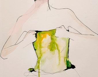 Figure 6 - mode Illustration Art Print, acrylique et techniques mixtes par Leigh Viner