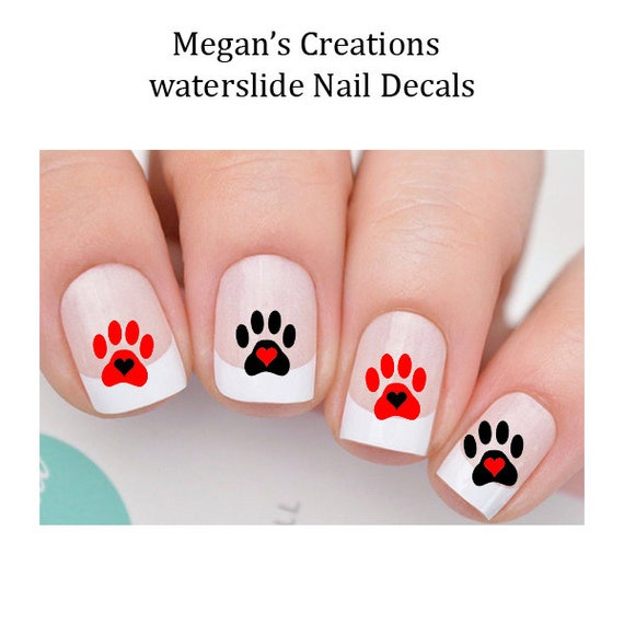 Dog Paws Hearts Design 102 Waterslide Nail Art Decals