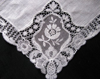 Vintage Hanky Bridal Gift for Bride White Lace