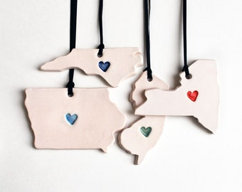 Custom State Heart Ornament, Ceramic, Pottery, Handmade - State shape - Christmas Ornament - Porcelain, Lauren Sumner Pottery