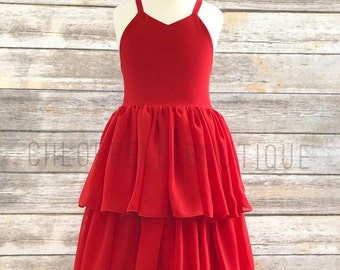 Red girls dress - Tiered Red dress - Tutu Dress - Red Holiday dress - Chiffon girl dress - Toddler holiday dress - Girls tutu dress