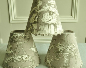 TOILE DE JOUY Lampshade, French lampshade, clip-on shade,  11 x 13 cm / 4.3 x 5.1 ins for Wall Light taupe/gray, romantic fabric