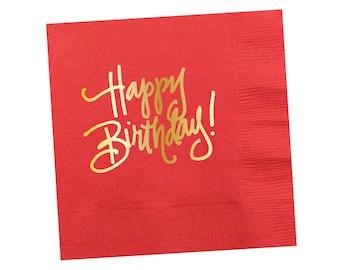 Napkins | Happy Birthday - Coral-y Orange