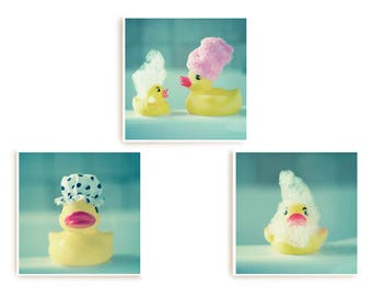 Aqua Bathroom Prints, Bathroom Wall Art Pictures, Kid's Bathroom Art, Set of 3 Prints, Square Print Set, Rubber Ducks, Aqua Print Set
