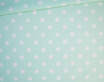 Fabric white polka dots Mint, 100% cotton printed 50 x 160 cm pattern dots on Mint Green