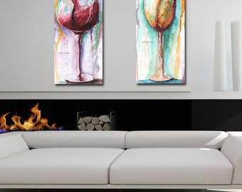 Set Of 2 Wine Canvases - Wine Watercolor Art Abstract Modern Colorful - Wine Lover Gift - Home Decor Wall Artwork 2 Sizes, 10 x 20, 20 x 40