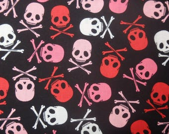 Pink and Black Skulls, Skull & Crossbones, Lady Pirates - 100% Cotton, By the Half Yard
