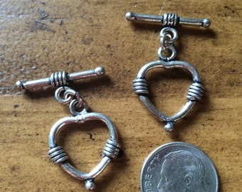 Genuine Bali .925 Sterling Silver Heart Toggle Clasp (1), Jewelry Supplies, Sterling Silver Beads, Toggle Clasps