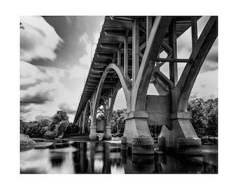 Mendota Bridge, Mendota, Minnesota.  Black and white landscape.  Wall art.