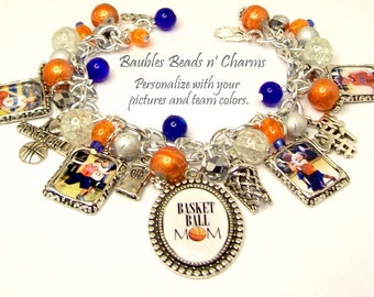 Personalized Basketball Basket Ball Charm Bracelet Jewelry, Sports Charm Bracelet Jewelry, Personalized Charm Bracelet Jewelry, Altered Art