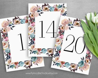 Fall wedding table numbers - Floral table numbers - Table number cards Mauve wedding table numbers fall wedding numbers fall wedding MS-316