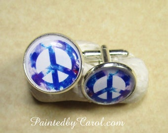 Peace Cufflinks, Peace Symbol Cufflinks, Peace Jewelry, Peace Gifts, Peace Mens Gifts, Hippie Cufflinks, Hippie Jewelry, Hippie Mens Gifts
