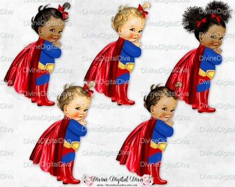 Woman Superhero Red White Blue Gold Boots | Vintage Baby Girl | Clipart Instant Download