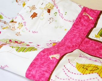 Pink and Yellow Nursery Rhymes Baby Quilt w/album and Burp Bean