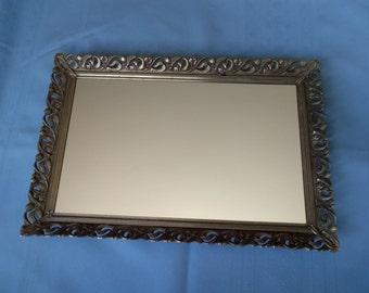Gold Filigree Mirrored Tray, Vintage mirrored tray, Large dresser tray, Vanity tray, Perfume tray, Gold Tone Filigree Metal,Rectangle Mirror