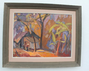 1962 Rural Landscape Abstract Painting By My Ling