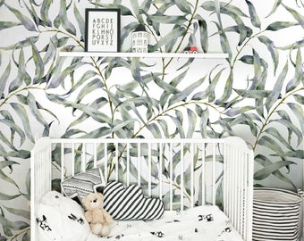 Eucalyptus leaf removable wallpaper, Jungle temporary wallpaper, Renters friendly wallpaper, Peel and stick wall sticker for apartments