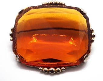 Large Amber Glass Brooch