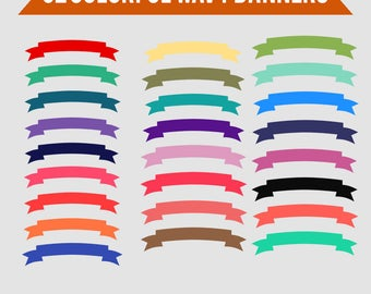 Digital Clipart Banners,Colorful Wavy Banners-Rainbow-Bright Colors-Web Banners-Digital Banners-Scrapbook Elements-Instant Download Clip Art