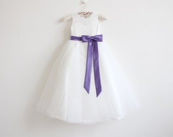 Light Ivory Flower Girl Dress Purple Baby Girls Dress Lace Tulle Flower Girl Dress With Purple Sash/Bows Floor-length
