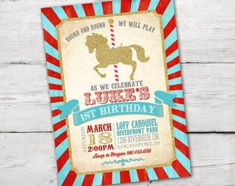Carousel Birthday Invitation, Carousel First Birthday, Carousel Birthday Party,  Carousel Invitation, Merry Go Round, PRINTABLE  ID:BD125925
