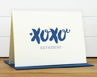 Personalized Stationery Set / Personalized Stationary Set - XOXO Custom Personalized Note Card Set - Feminine Girl Heart