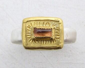Pink Tourmaline  Ring / Gold Tormaline Ring / 24k Gold Ring for Women