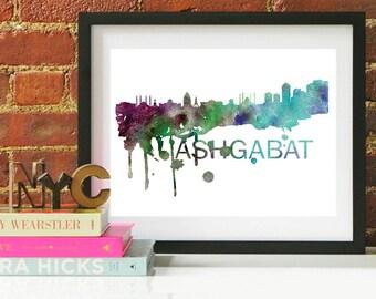Ashgabat Watercolor Skyline, Ashgabat Skyline, Ashgabat Art, Ashgabat Poster, Ashgabat Print, Ashgabat Art, Ashgabat Map, Ashgabat Wall Art