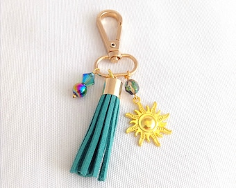 clip on purse tassel, turquoise faux leather bag tassel, lanyard charms, keychain tassels