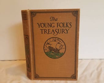 Vintage Hardcover Children's Anthology of Story--The Young Folks Treasury--Classic Literature--1920s--Antique Book
